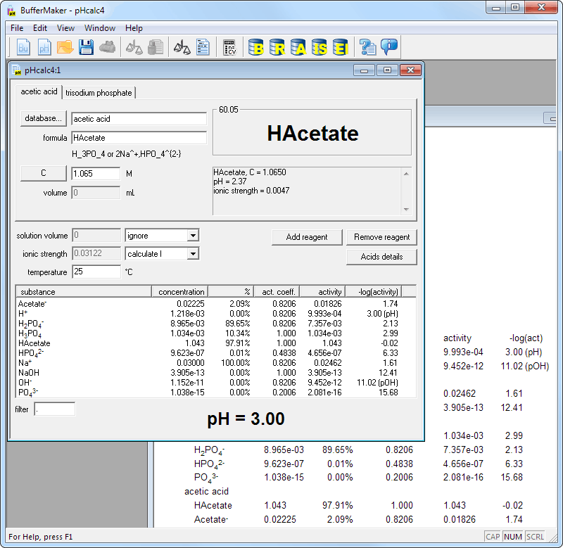 Buffer Maker pH calculator screen shot