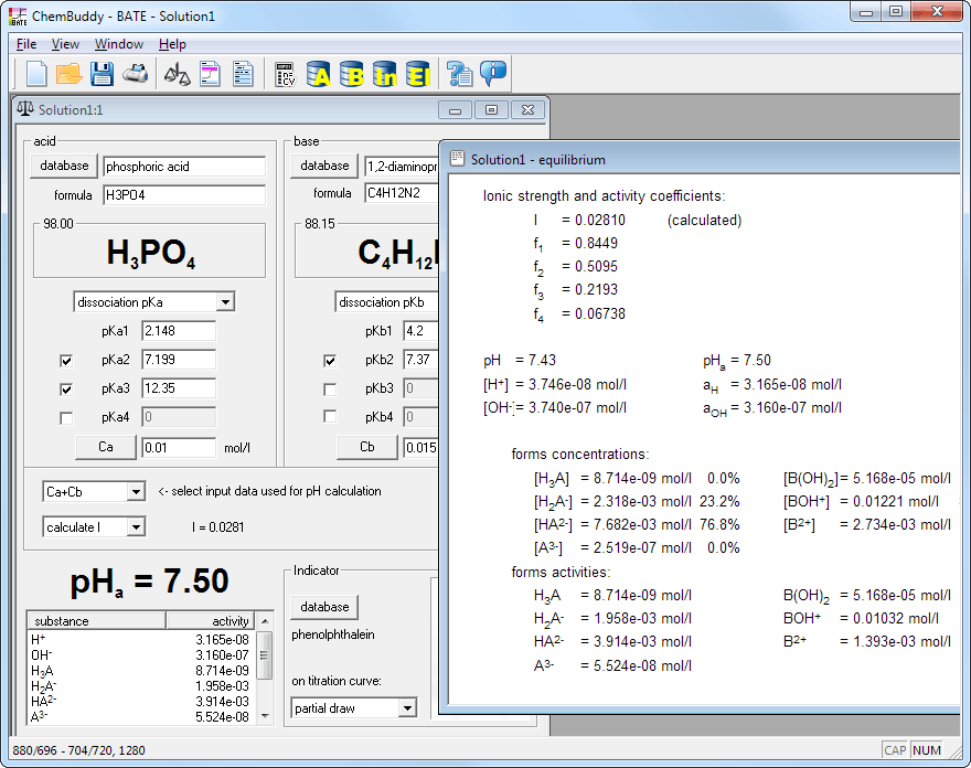 BATE pH calculator - equilibrium view with ion speciation
