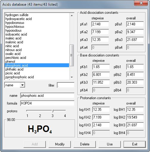 BATE pH calculator - database window with pKa and pKb values