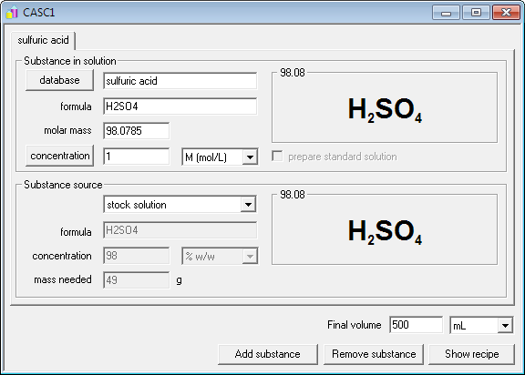 CASC concentration and solution calculator - solution window with sulfuric acid selected